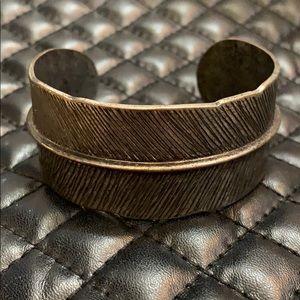 Free People Silver Metal Feather Bangle Bracelet